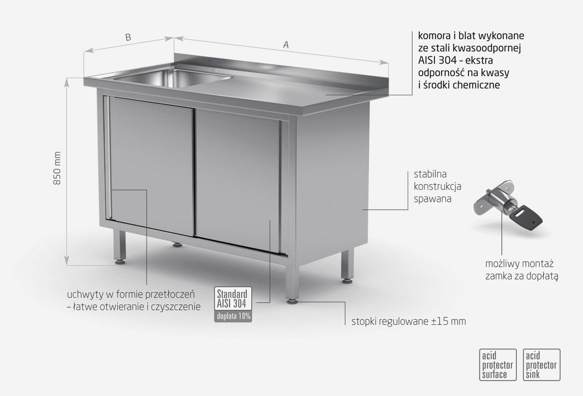 Stół ze zlewem, szafka z drzwiami suwanymi - komora po lewej stronie - POL-217-L