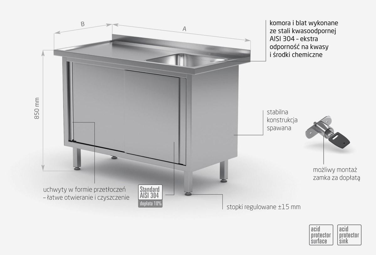 Stół ze zlewem, szafka z drzwiami suwanymi - komora po prawej stronie - POL-217-P