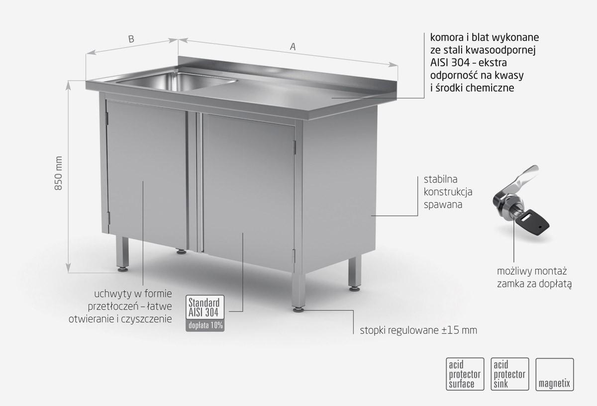 Stół ze zlewem, szafka z drzwiami na zawiasach - komora po lewej stronie - POL-218-L