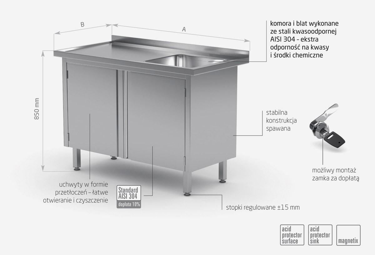 Stół ze zlewem, szafka z drzwiami na zawiasach - komora po prawej stronie - POL-218-P
