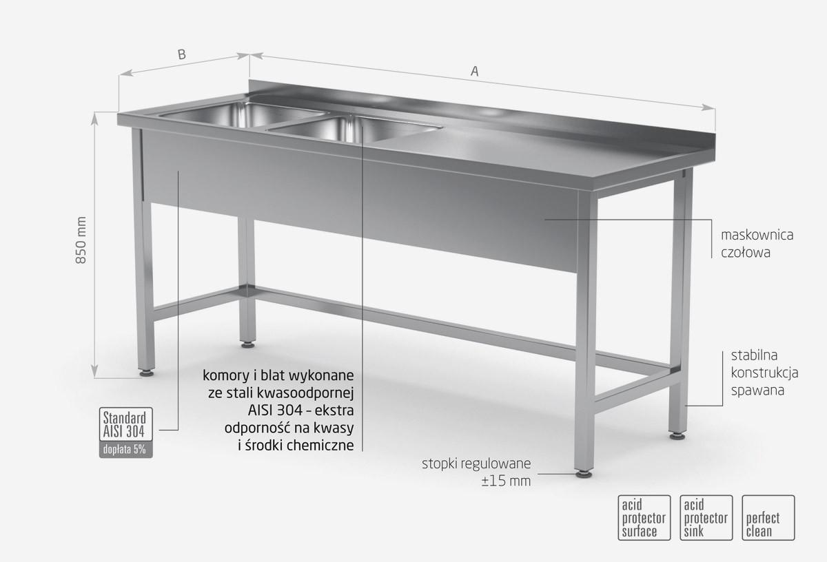 Stół z dwoma zlewami wzmocniony bez półki - komory po lewej stronie - POL-220-L