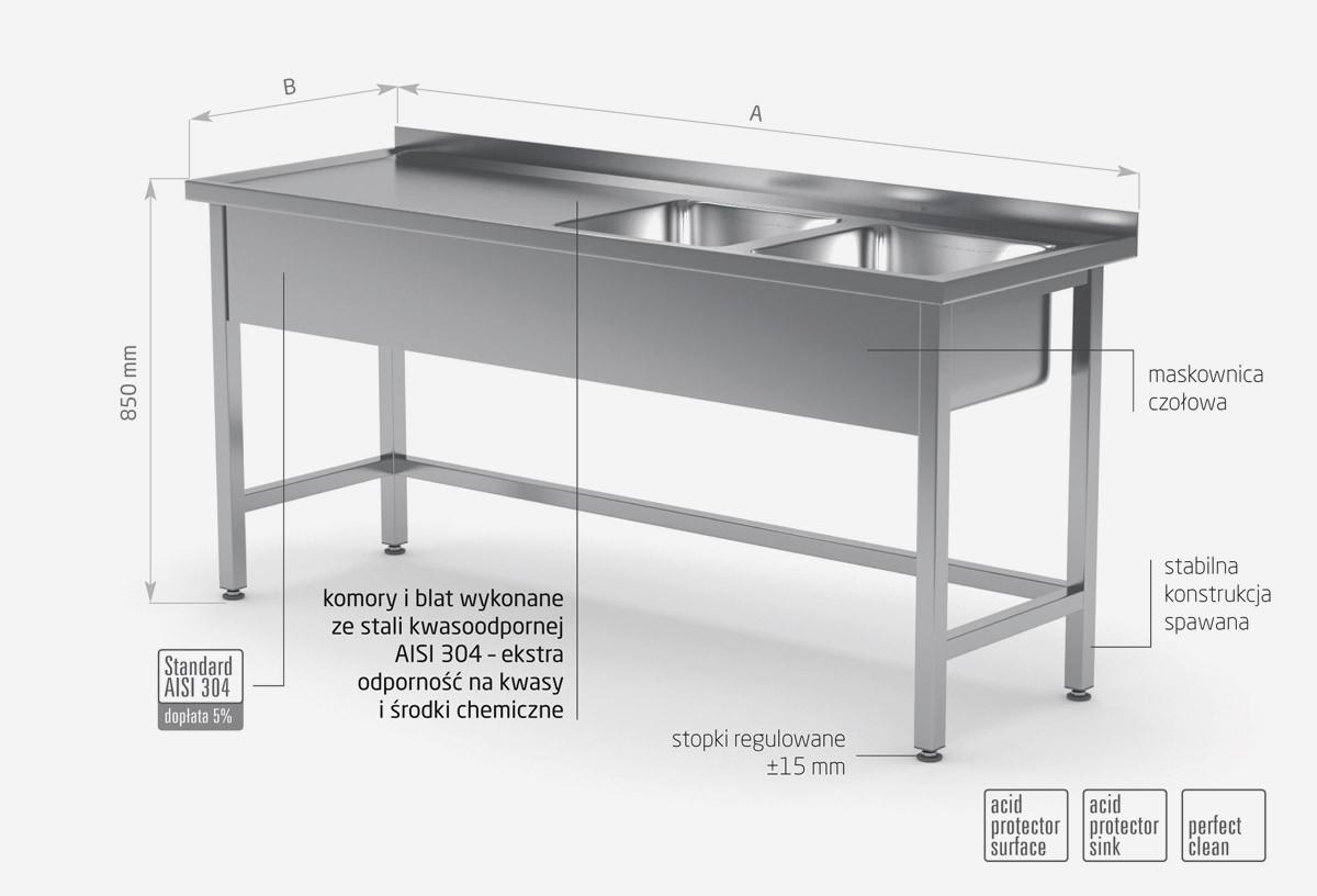 Stół z dwoma zlewami wzmocniony bez półki - komory po prawej stronie - POL-220-P