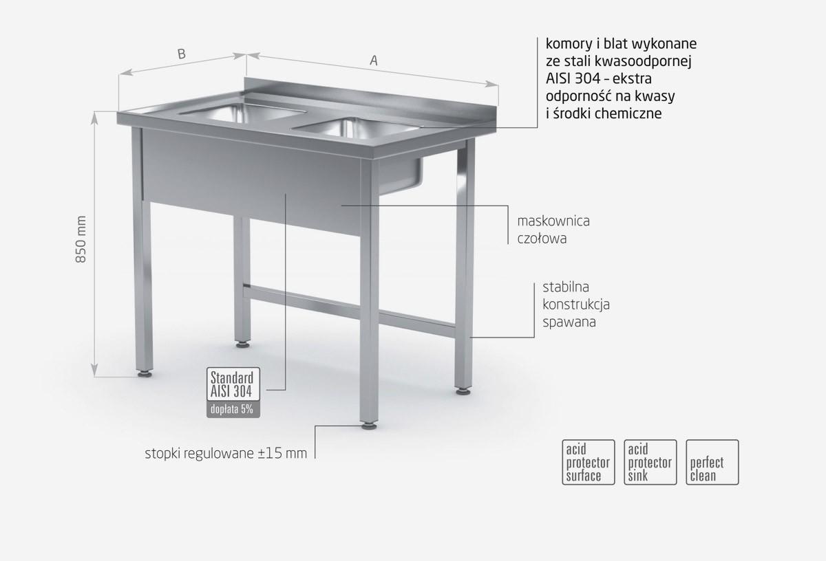 Stół z dwoma małymi zlewami bez półki - POL-221-MK