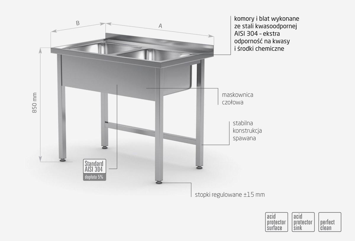 Stół z dwoma zlewami bez półki - POL-221