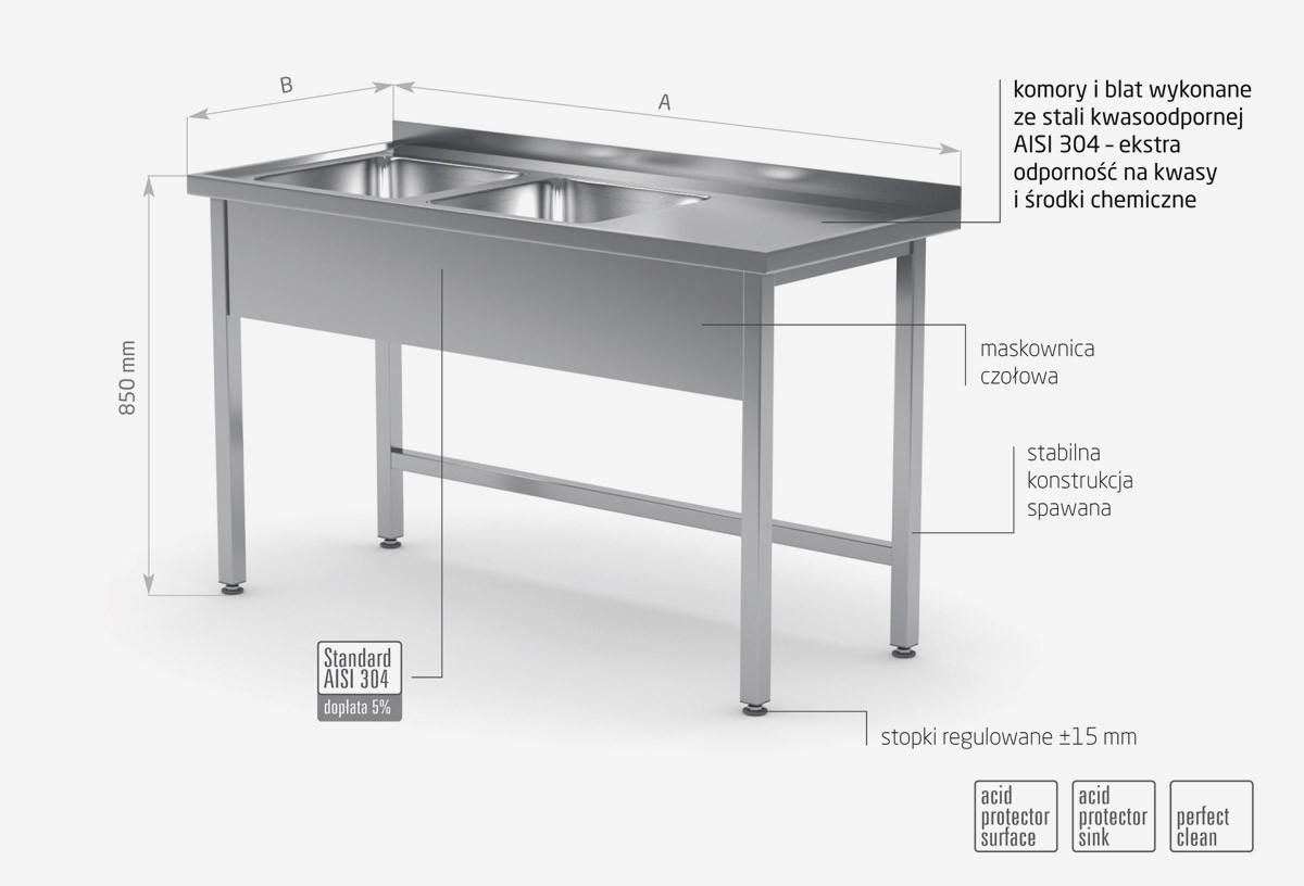 Stół z dwoma zlewami bez półki - komory po lewej stronie - POL-221-L