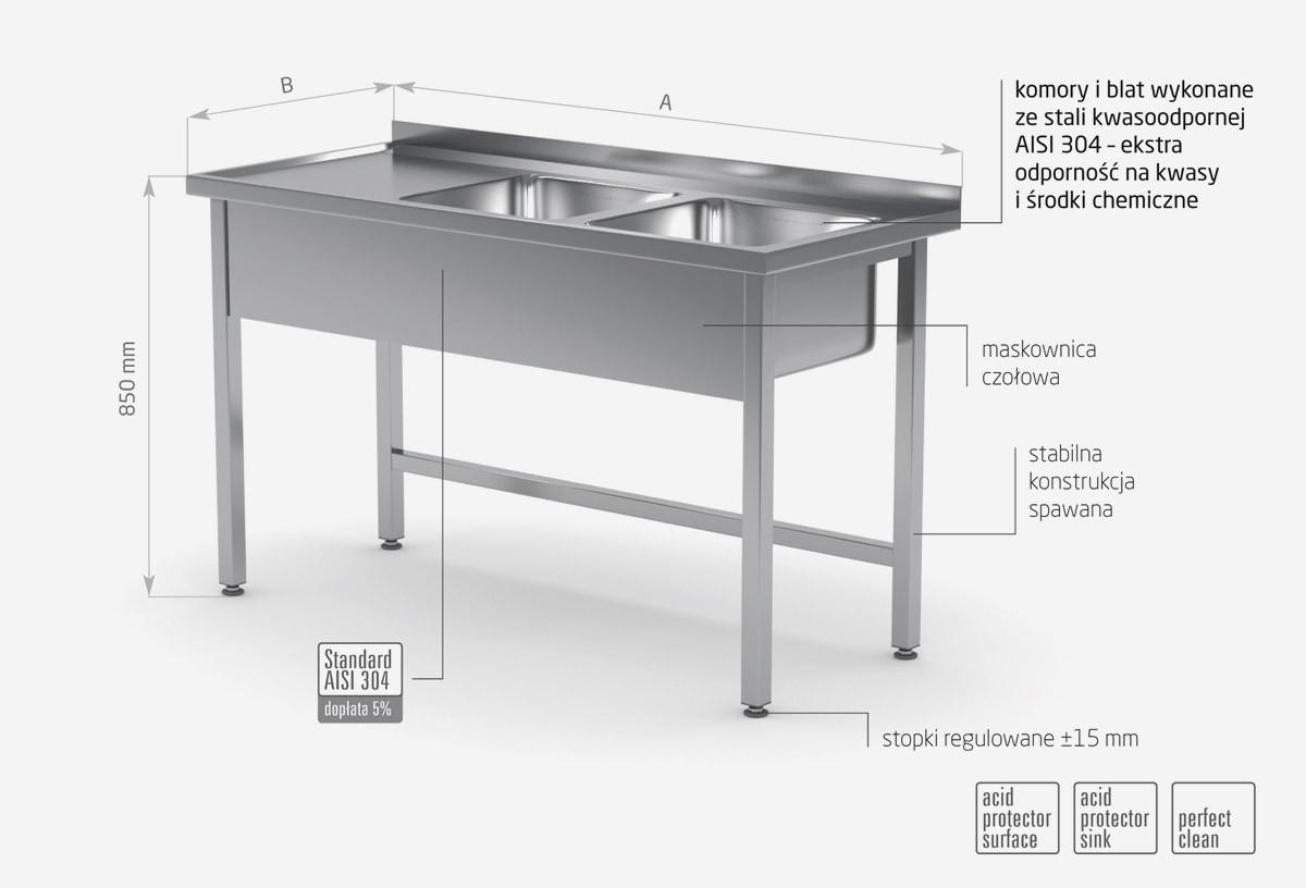 Stół z dwoma zlewami bez półki - komory po prawej stronie - POL-221-P