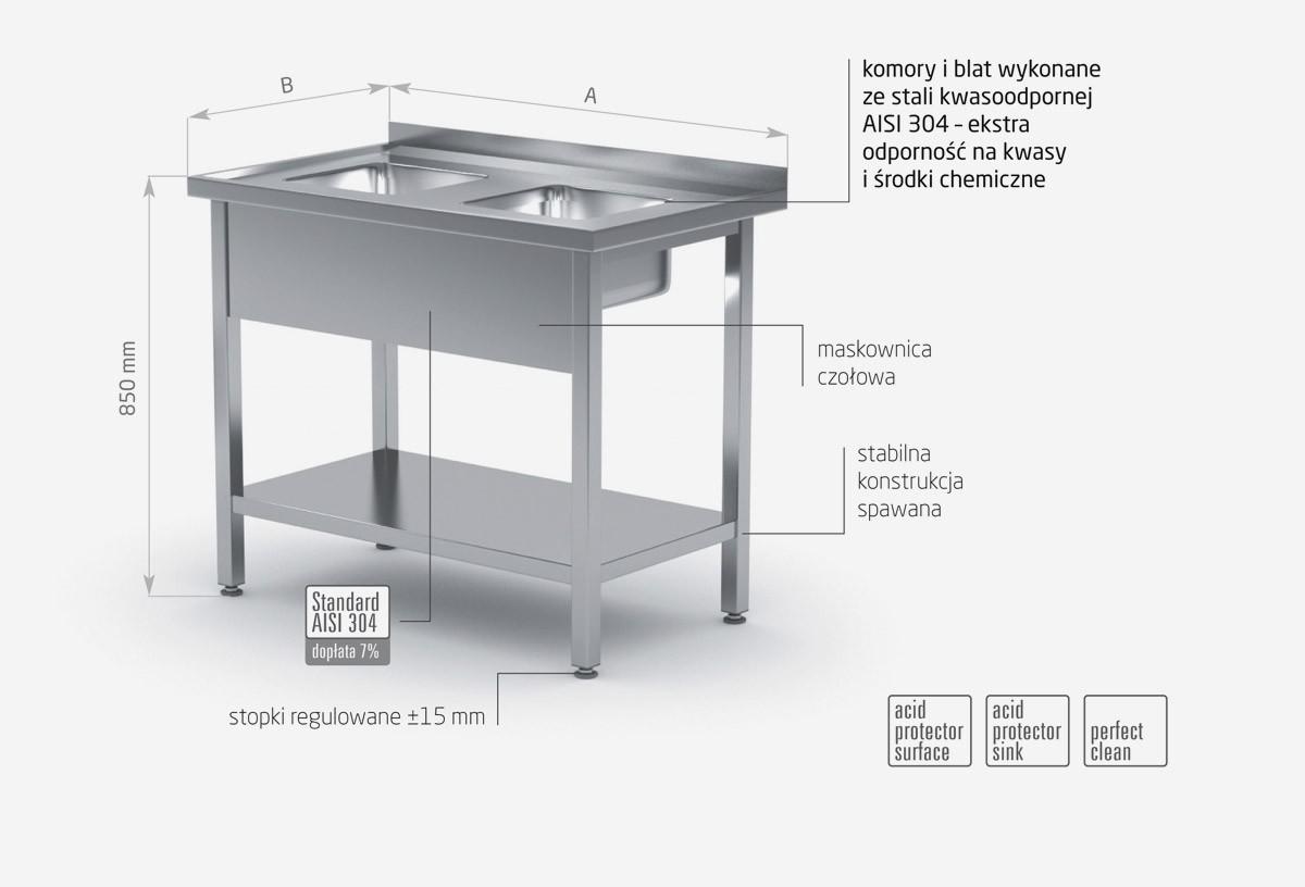 Stół z dwoma małymi zlewami i półką - POL-222-MK