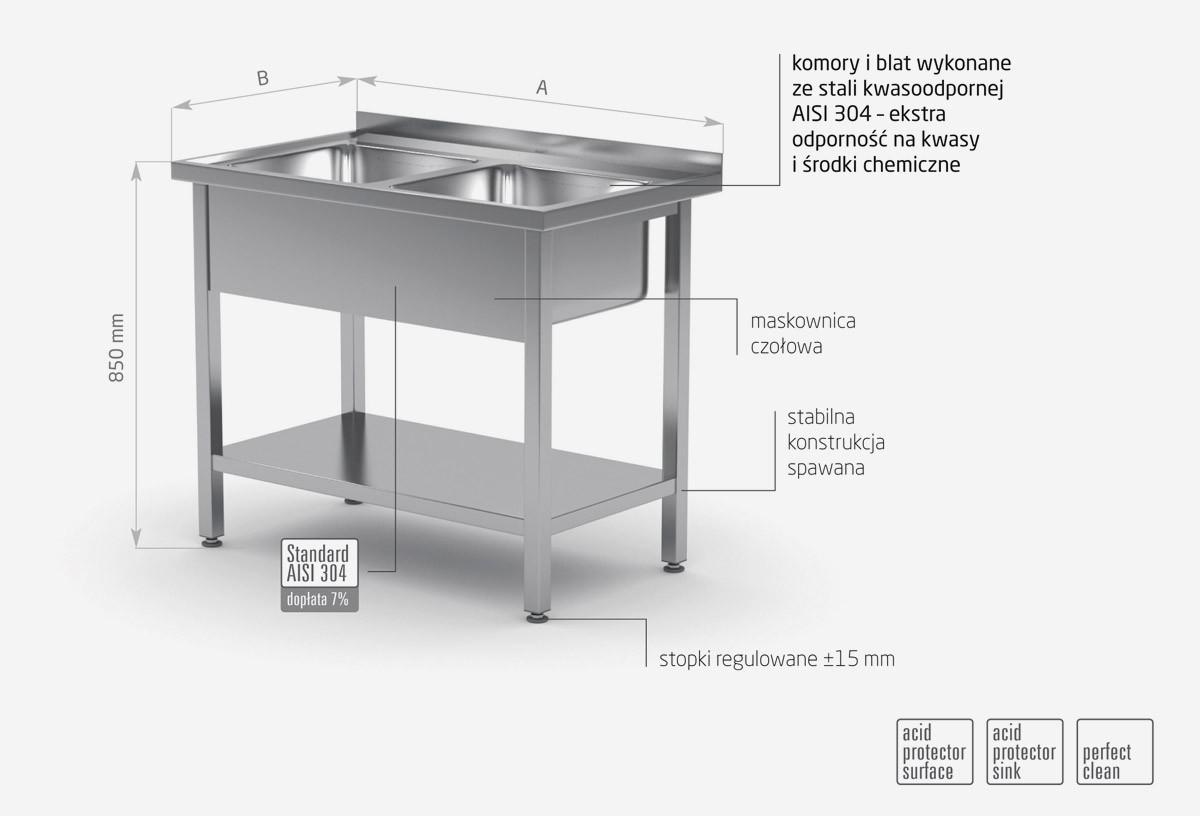 Stół z dwoma zlewami i półką - POL-222