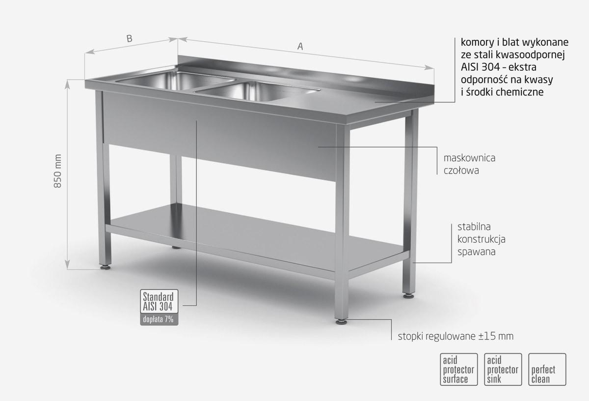 Stół z dwoma zlewami i półką - komory po lewej stronie - POL-222-L