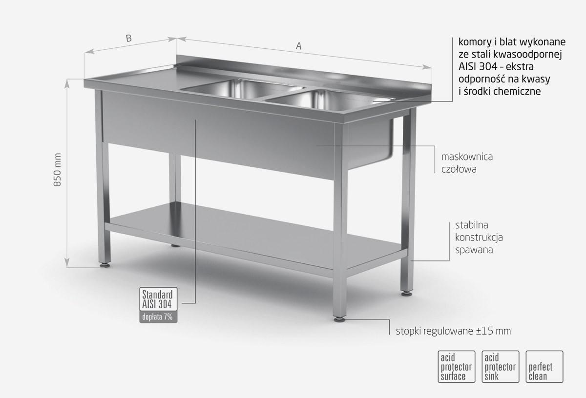 Stół z dwoma zlewami i półką - komory po prawej stronie - POL-222-P