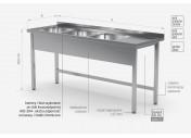 Stół z trzema zlewami bez półki - komory po lewej stronie - POL-223-L