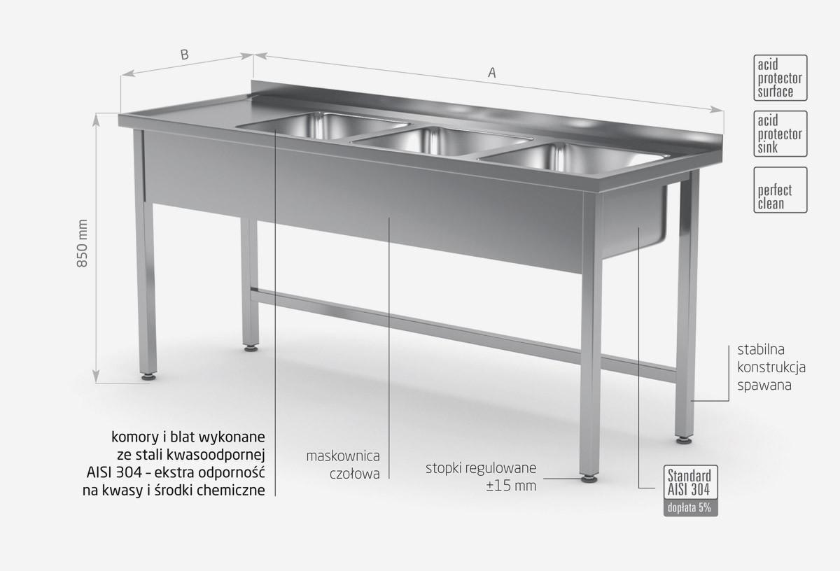 Stół z trzema zlewami bez półki - komory po prawej stronie - POL-223-P