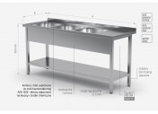Stół z trzema zlewami i półką - komory po lewej stronie - POL-224-L