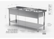 Stół z trzema zlewami i półką - komory po prawej stronie - POL-224-P