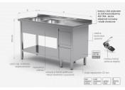 Stół z dwoma zlewami, półką i szafką z dwiema szufladami - komory po lewej stronie - POL-225-L