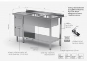 Stół z dwoma zlewami, półką i szafką z dwiema szufladami - komory po prawej stronie - POL-225-P