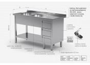 Stół z dwoma zlewami, półką i szafką z trzema szufladami - komory po lewej stronie - POL-225-3-L