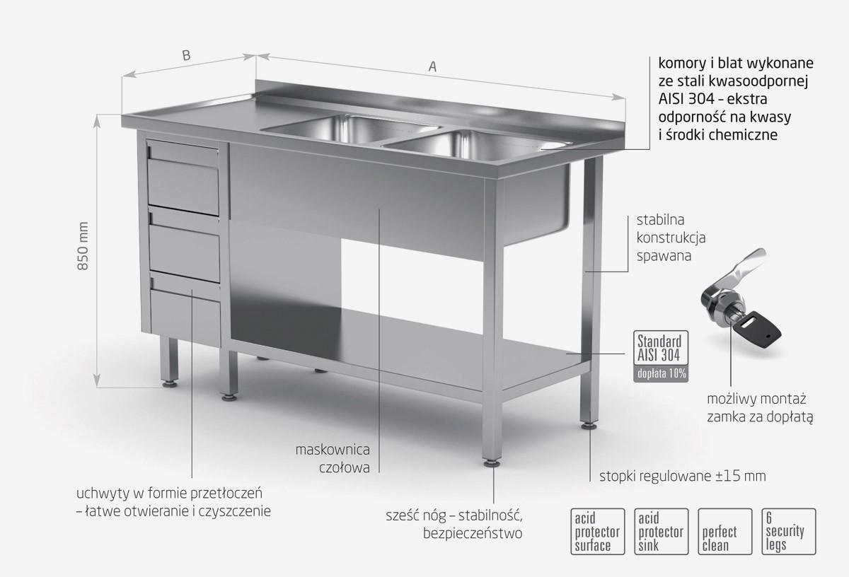 Stół z dwoma zlewami, półką i szafką z trzema szufladami - komory po prawej stronie - POL-225-3-P