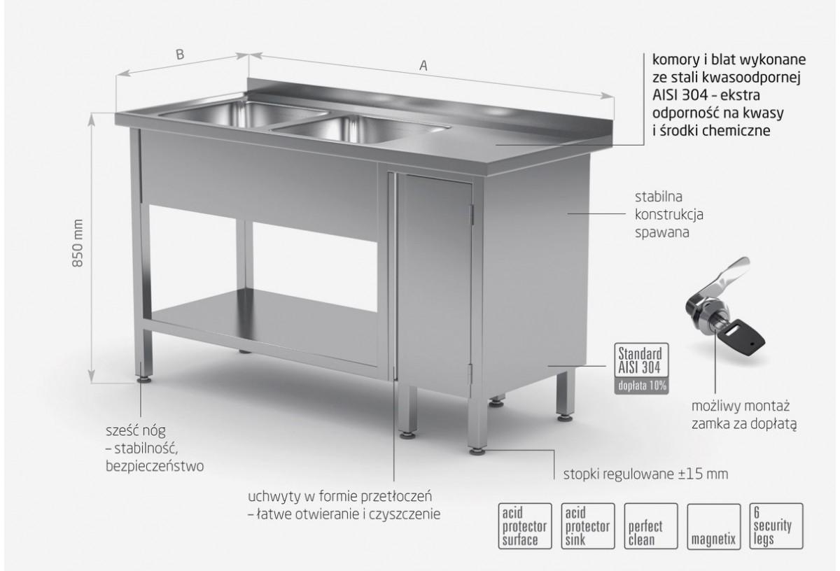Stół z dwoma zlewami, półką i szafką z drzwiami na zawiasach - komory po lewej stronie - POL-226-L