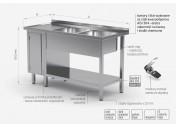 Stół z dwoma zlewami, półką i szafką z drzwiami na zawiasach - komory po prawej stronie - POL-226-P