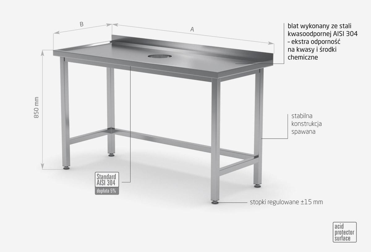 Stół przyścienny z otworem na odpadki - POL-235