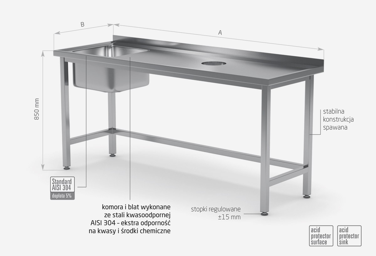 Stół ze zlewm i otworem na odpadki - komora po lewej stronie - POL-236-L