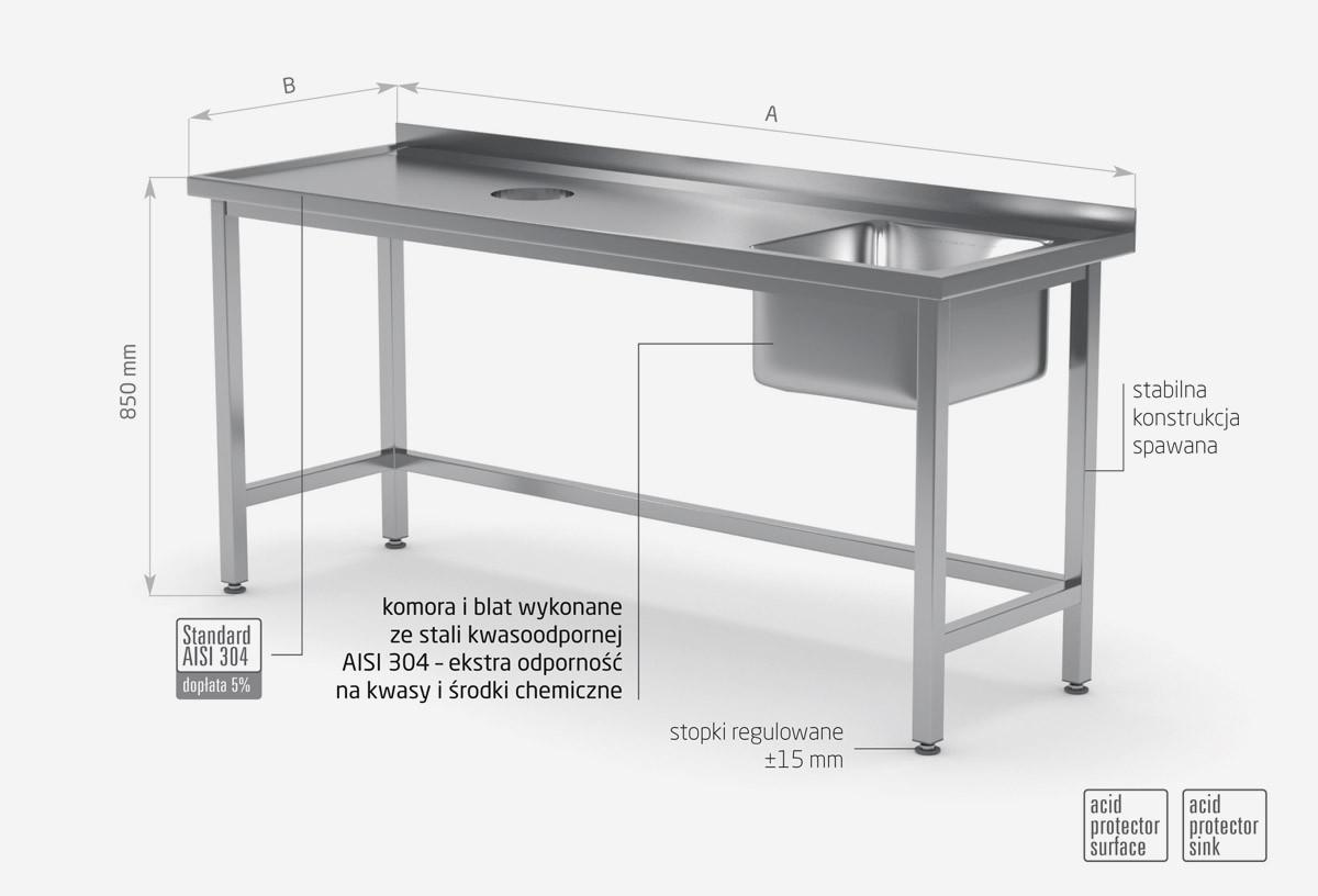 Stół ze zlewm i otworem na odpadki - komora po prawej stronie - POL-236-P