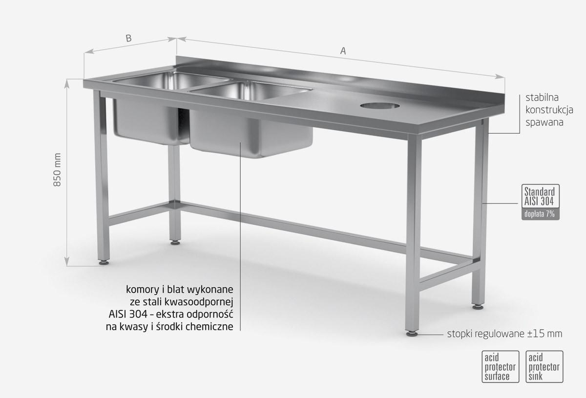 Stół z dwoma zlewami i otworem na odpadki - komory po lewej stronie - POL-246-L