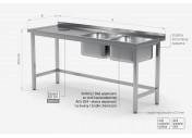 Stół z dwoma zlewami i otworem na odpadki - komory po prawej stronie - POL-246-P