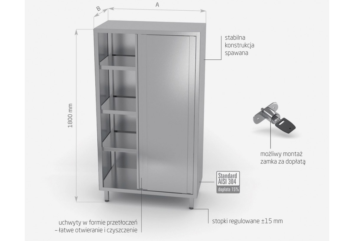 Szafa magazynowa z drzwiami suwanymi - (h)1800 mm - POL-301