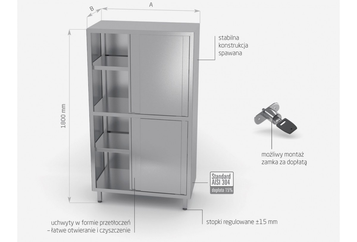 Szafa magazynowa z przegrodą i drzwiami suwanymi, (h) 1800 mm - POL-302