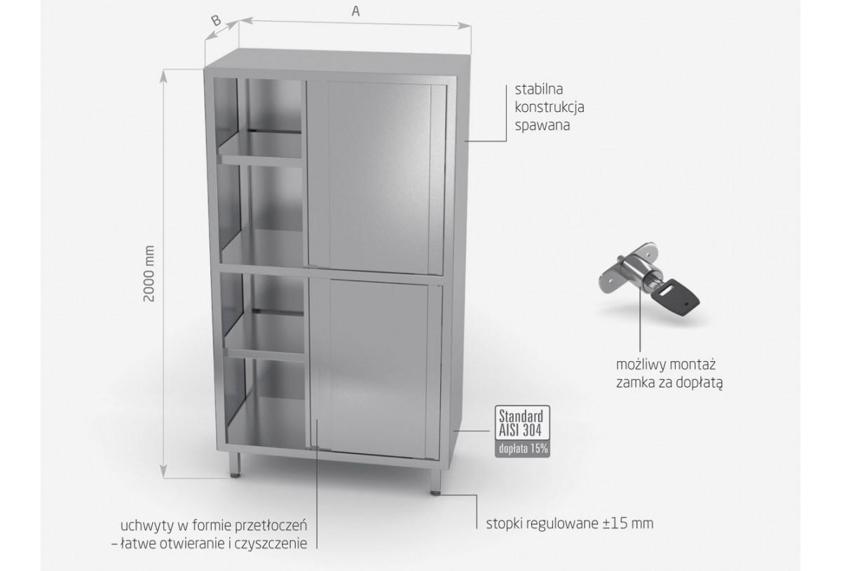 Szafa magazynowa z przegrodą i drzwiami suwanymi (h) 2000 mm - POL-302-2