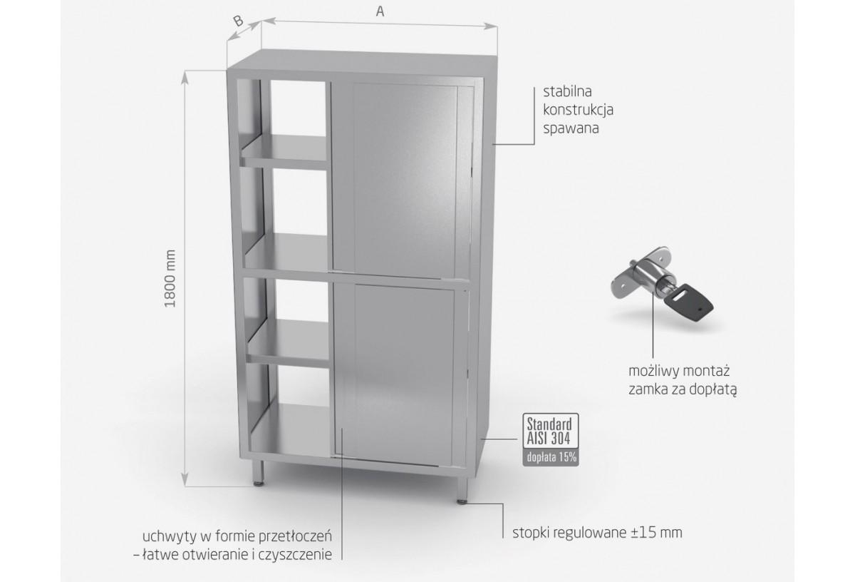 Szafa przelotowa z przegrodą i drzwiami suwanymi (h) 1800 mm - POL-303