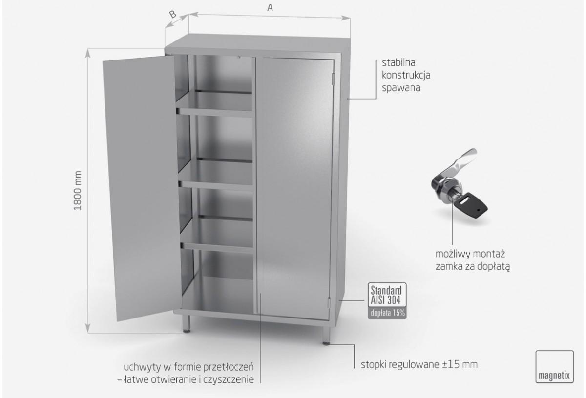 Szafa magazynowa z drzwiami na zawiasach (h) 1800 mm - POL-304