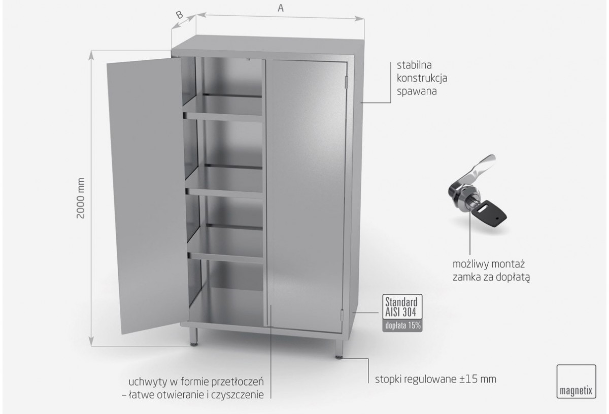 Szafa magazynowa z drzwiami na zawiasach (h) 2000 mm - POL-304-2