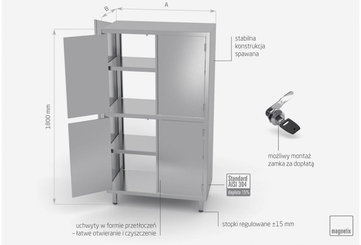 Szafa przelotowa z przegrodą i drzwiami na zawiasach h: 1800 mm - POL-306