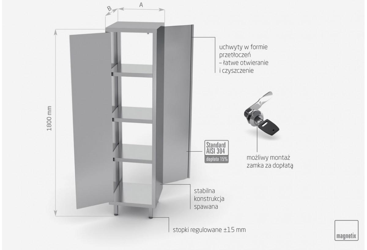 Szafa przelotowa z drzwiami na zawiasach h: 1800 mm - POL-312-W
