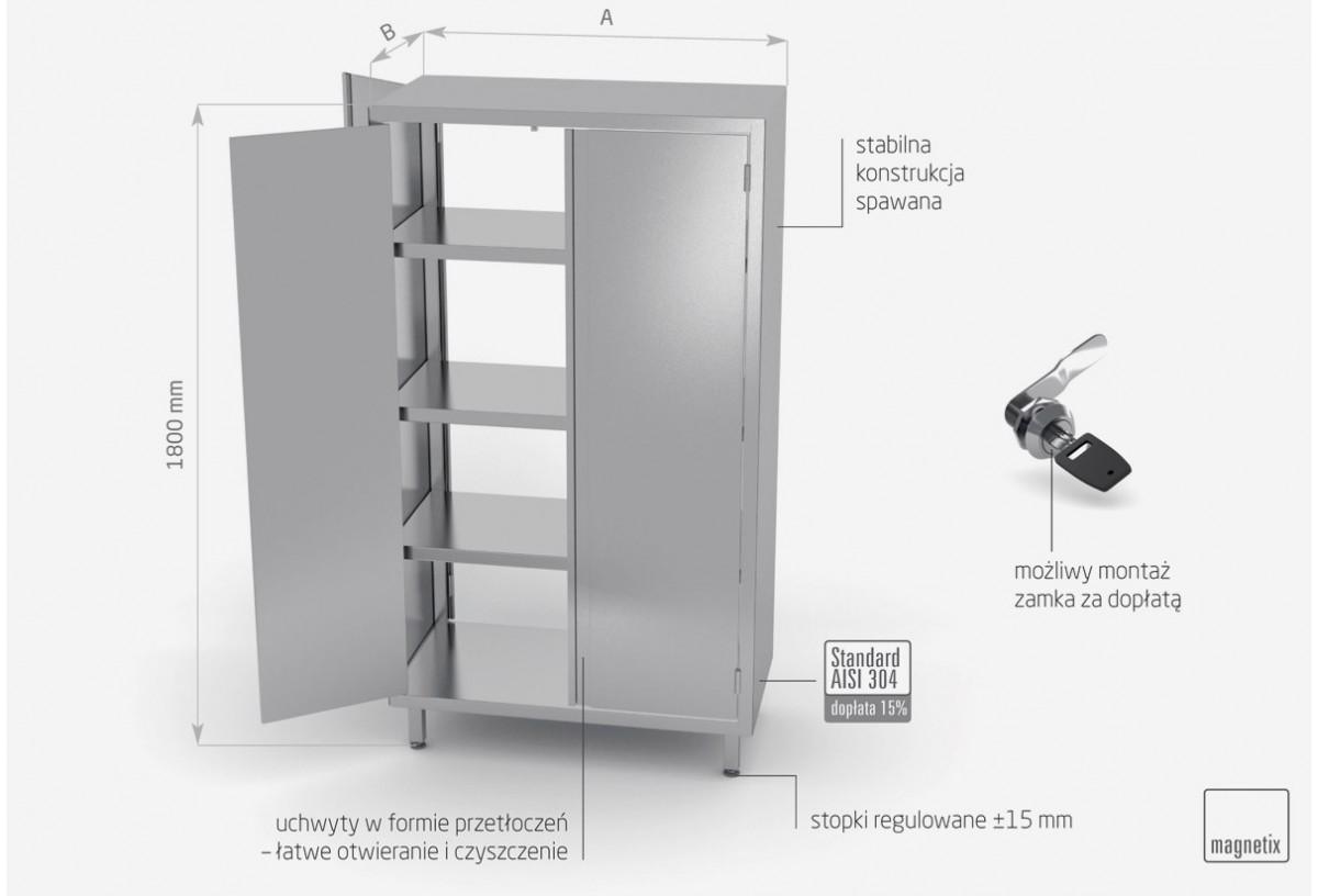 Szafa przelotowa z drzwiami na zawiasach h: 1800 mm - POL-312