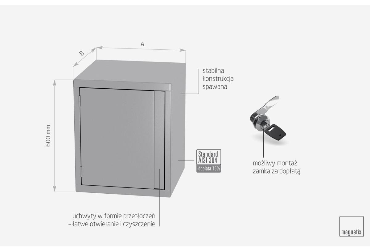 Szafka wisząca z drzwiami na zawiasach - POL-310