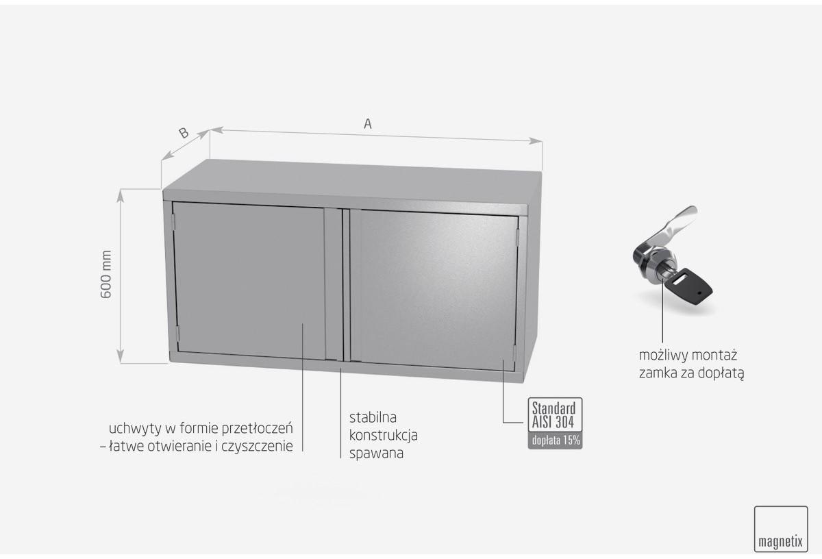 Szafka wisząca z drzwiami na zawiasach, dwoje drzwi - POL-310-2