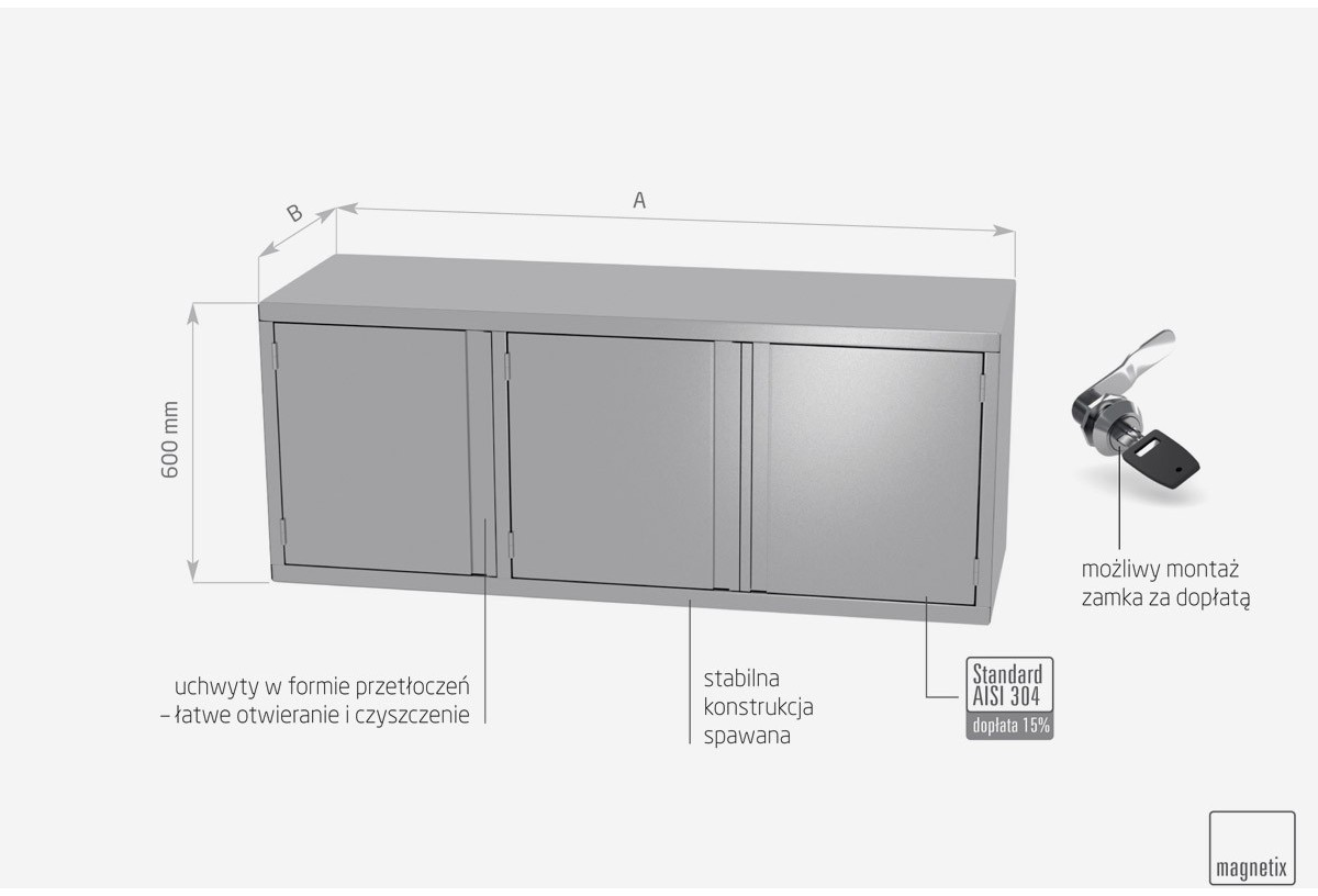 Szafka wisząca z drzwiami na zawiasach, troje drzwi - POL-310-3