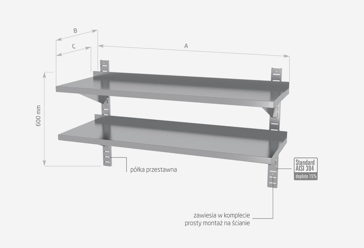 Półka wisząca przestawna, podwójna - POL-384