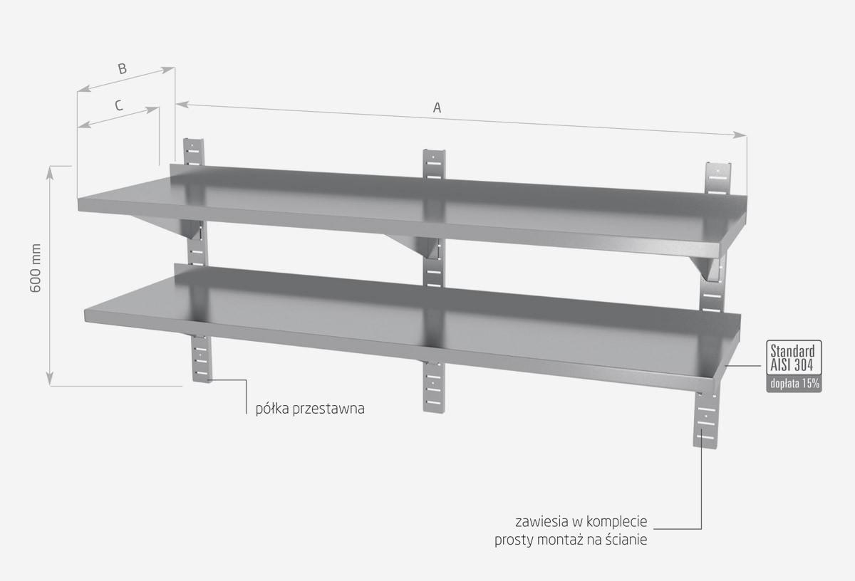 Półka wisząca przestawna, podwójna - POL-384-3