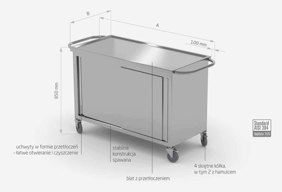 Wózek z szafką z drzwiami suwanymi - POL-440