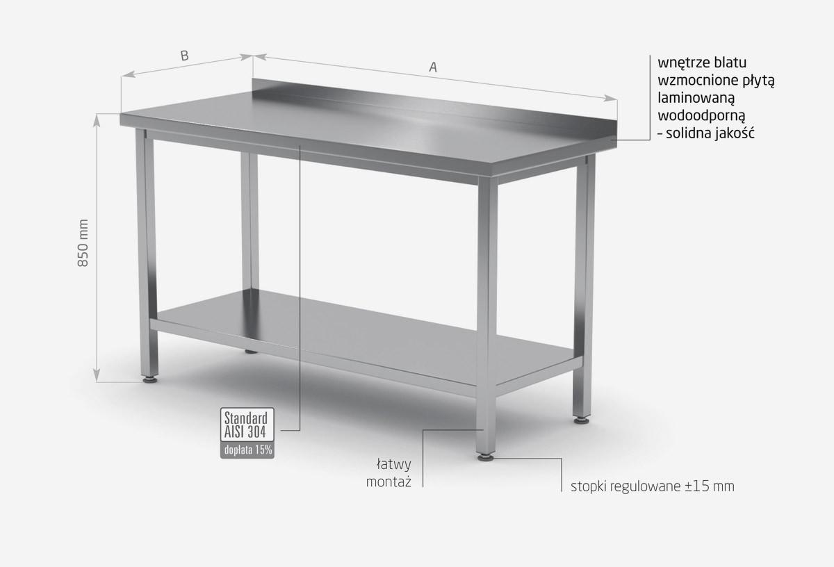 Stół przyścienny z półką skręcany - POL-103SK