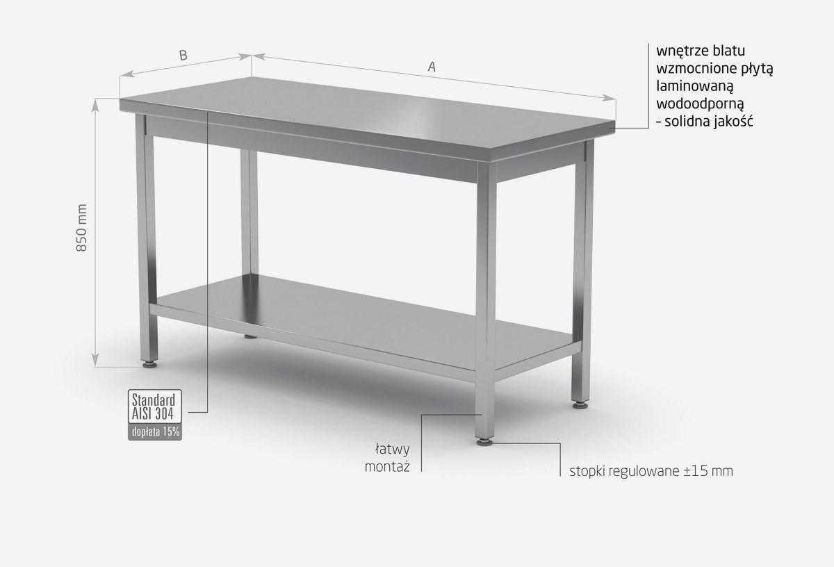 Stół centralny z półką skręcany - POL-112SK