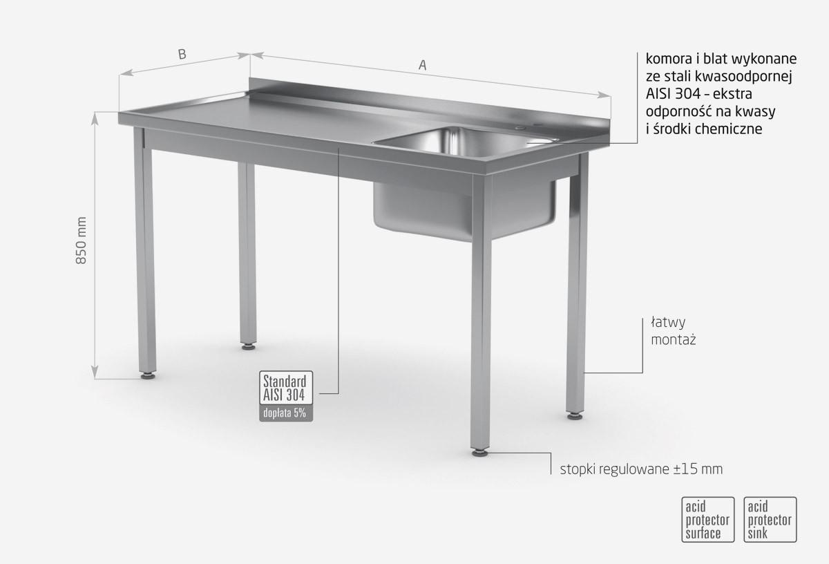 Stół ze zlewem bez półki skręcany - POL-211SK