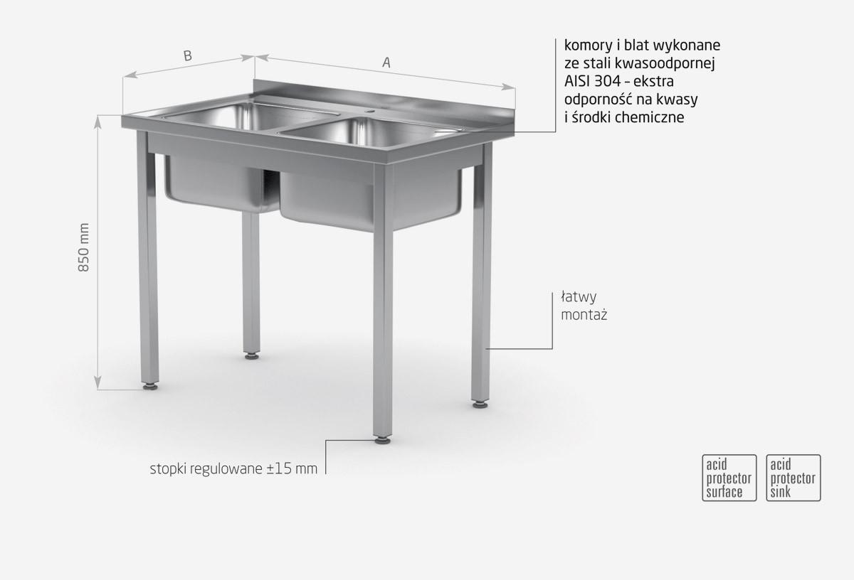 Stół z dwoma zlewami bez półki skręcany - POL-221SK