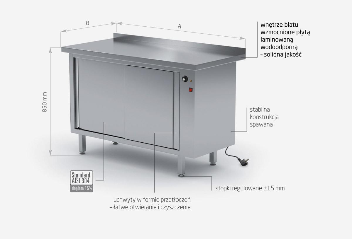 Stół przyścienny szafka grzewcza z drzwiami suwanymi - POL-940