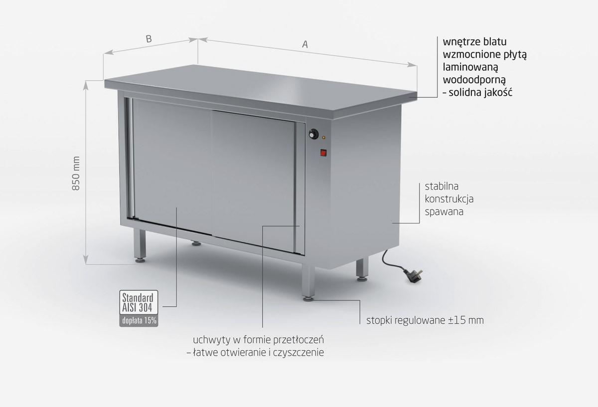 Stół centralny przelotowy grzewczy z drzwiami suwanymi - POL-950